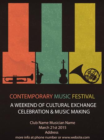 Illustration pour Vector illustration of Vintage Music Festival Flyer or brochure cover - image libre de droit