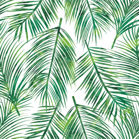 Vector illustration of  green palm tree leaf seamless  pattern mural