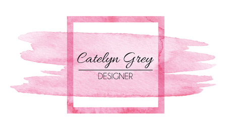Ilustración de Vector illustration of pink logotype for business cards. Hand drawn watercolor elements - Imagen libre de derechos