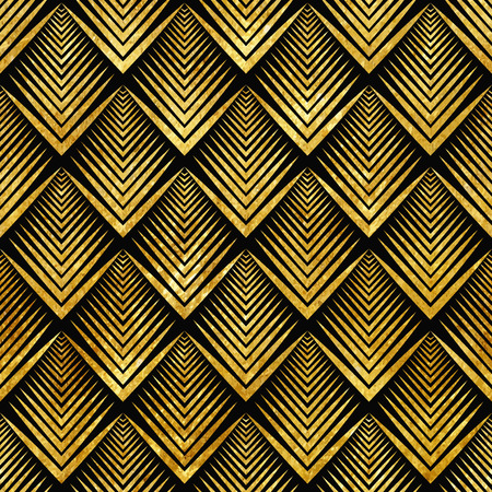 Ilustración de Vector illustration of golden seamless pattern in art deco style - Imagen libre de derechos