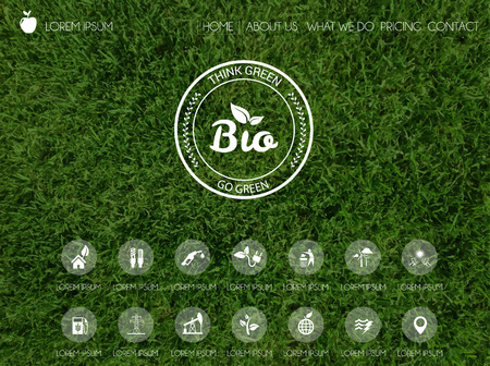Ilustración de Vector illustration of web and mobile interface template. Header design with blurred background. Think green. Ecology renewable energy and environmental protection themes. - Imagen libre de derechos