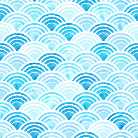 Ilustración de Vector illustration of abstract geometric seamless pattern with blue watercolor circles - Imagen libre de derechos