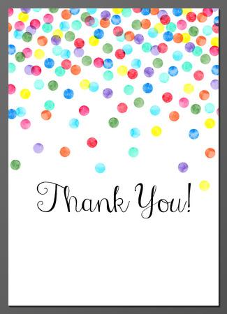 Ilustración de Vector illustration of Thank You card decorated with watercolor confetti - Imagen libre de derechos