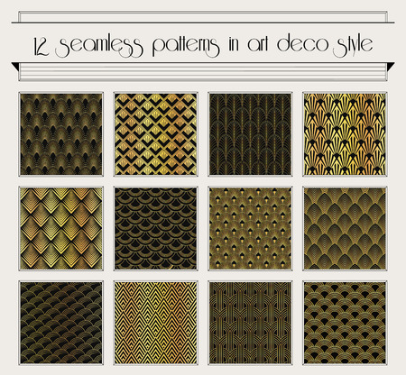 Illustration for set of seamless patterns in art deco vintage style - Royalty Free Image