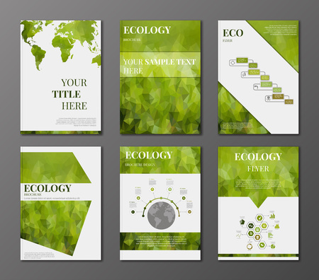 Illustration pour Vector set of brochure or flyer design template. Applications and Online Services Infographic Concept. Infographic elements concerning to ecology, reneable energy and sustainable development themes - image libre de droit