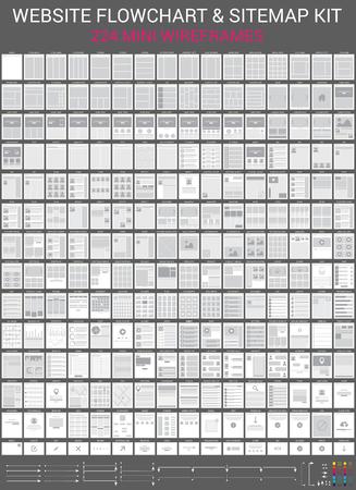 Illustration pour Vector set of website flowchart and sitemap cards. Mini wireframes kit. - image libre de droit