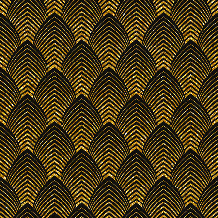Ilustración de Vector illustration of seamless pattern in art deco style. Golden glittering texture. - Imagen libre de derechos