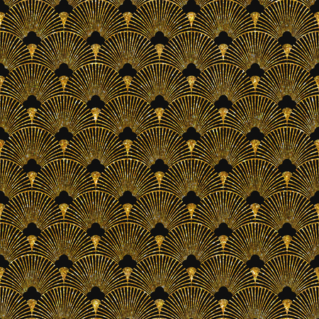 Illustration for Vector illustration of seamless pattern in art deco style. Golden glittering texture. - Royalty Free Image