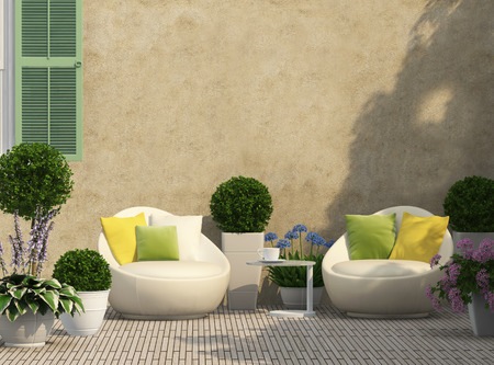 Photo pour Cozy terrace in the garden with flowers - image libre de droit
