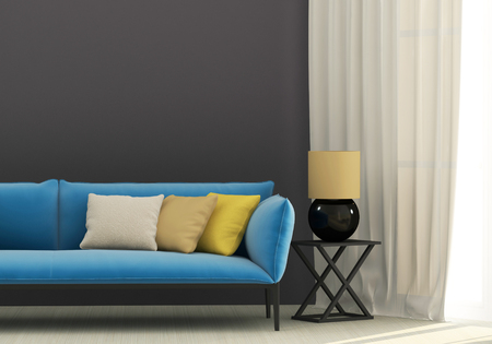 Photo pour Gray interior with blue sofa and yellow cushions - image libre de droit