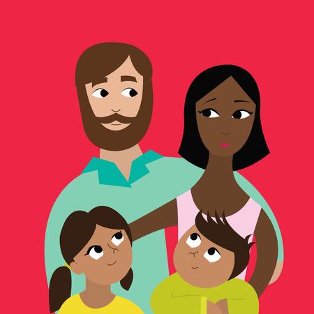 Illustration pour Happy interracial family with their children - image libre de droit