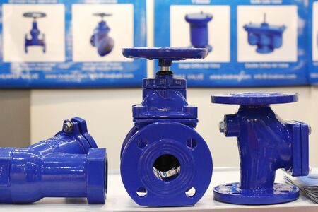 Photo pour The valve with a rubber wedge is presented in a section. Blue cast iron gate valve for industrial piping wedge with rubber wedge. Throttle with gearbox. Manual valve. - image libre de droit