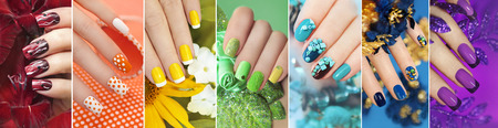 Photo pour Rainbow collection of nail designs for summer and winter time of year with glitter, sequins and various decorations with flowers. - image libre de droit