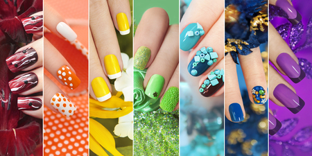 Photo pour Colorful rainbow collection of nail designs for summer and winter holidays. - image libre de droit