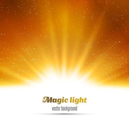 Ilustración de Vector  illustration Abstract magic gold light background - Imagen libre de derechos