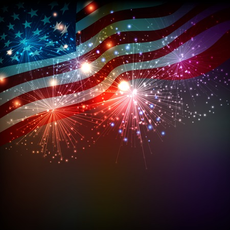 Illustration pour Fireworks background for 4th of July Independense Day - image libre de droit