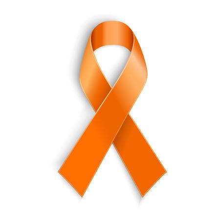 Illustration pour Vector Orange ribbon as symbol of Animal Abuse leukemia awareness kidney cancer association multiple sclerosis - image libre de droit