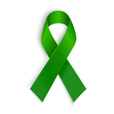 Photo pour Green ribbon. Scoliosis Mental health and other awareness symbol. Vector illustration - image libre de droit