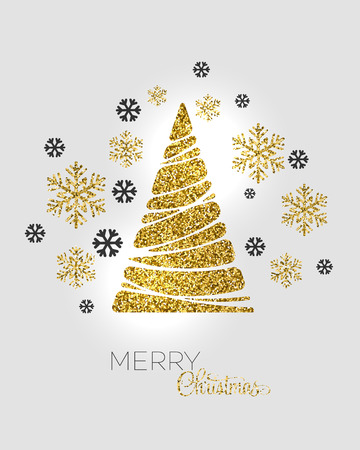 Illustration pour Vector illustration gold Christmas tree.  Holiday background - image libre de droit