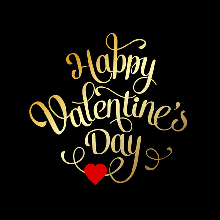 Illustration pour Valentines Card with lettering. Happy Valentine's Day - image libre de droit