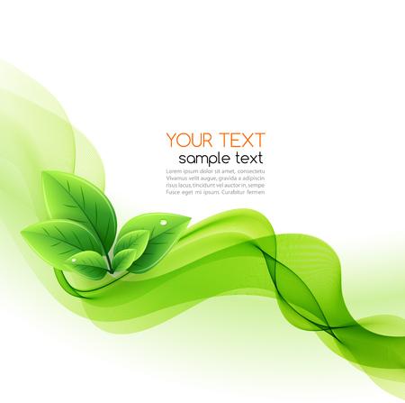 Ilustración de Vector eco leaves and green wave. Abstract ecology background - Imagen libre de derechos
