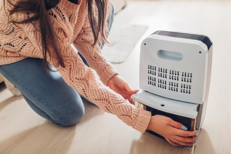 Photo pour Woman changing water container of dehumidifier at home. Dampness in apartment. Modern air dryer technology - image libre de droit