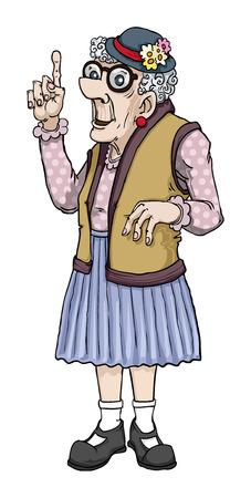 Foto de Old cartoon lady making a point - Imagen libre de derechos