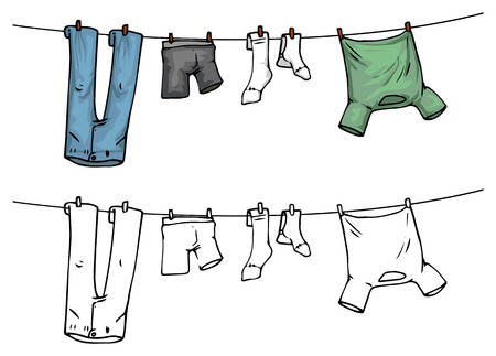 Illustration for hanging clothes on washing line, color and outline - Royalty Free Image