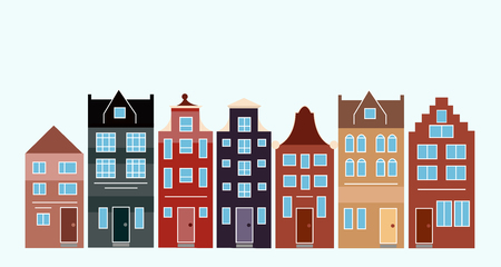 Illustration for Vector illustration of various Dutch houses. Amsterdam colorful houses street. - Royalty Free Image
