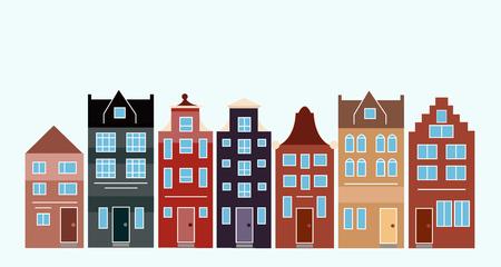 Ilustración de Vector illustration of various Dutch houses. Amsterdam colorful houses street. - Imagen libre de derechos