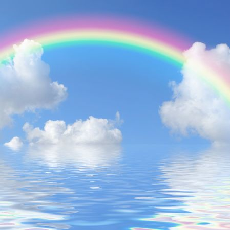 Foto de Fantasy abstract of a blue sky and rainbow with cumulus clouds and reflection over water.  - Imagen libre de derechos
