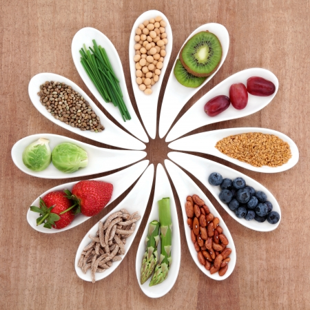Superfood health food selection in white bowls over papyrus background