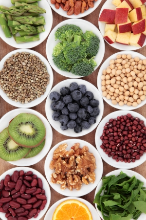 Photo pour Superfood health food selection in white bowls  - image libre de droit