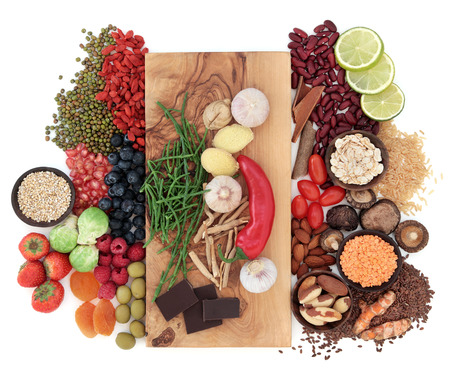 Photo pour Superfood health food selection over white - image libre de droit
