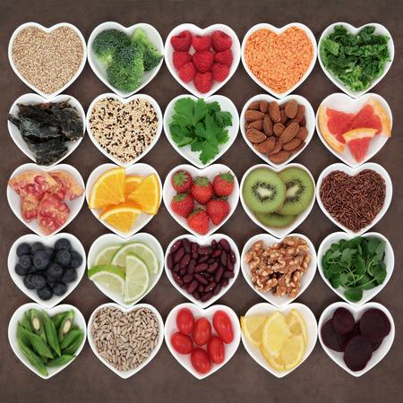 Photo pour Super food for beauty detox health diet on white porcelain bowls. - image libre de droit