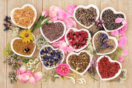Foto de Healing herb and flower selection used in herbal medicine in heart shaped bowls with pollen and honey bee over oak background. - Imagen libre de derechos