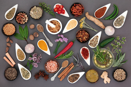 Large herb and spice fresh and dried food seasoning in china and wooden bowls over grey background.