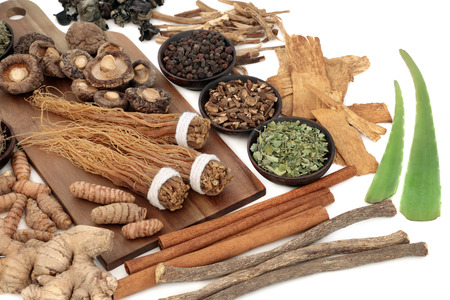 Photo pour Adaptogen food collection with herbs and spices. Used in herbal medicine to help the body resist the damaging effect of stress and restore normal physiological functioning. On white background. - image libre de droit