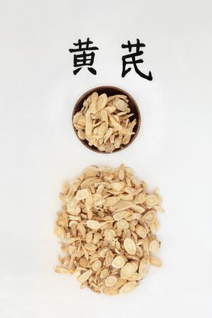 Photo pour Astragalus root herb used in chinese herbal medicine with calligraphy script. Boosts the immune system, is an anti inflammatory & protects the cardiovascular system & has many other health benefits. Translation reads as astragalus. Huang qi. - image libre de droit