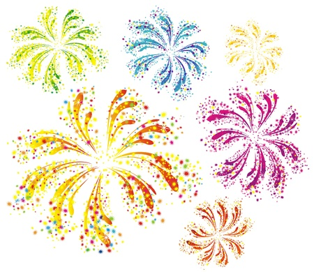 Brightly colorful vector fireworks isolated on white background