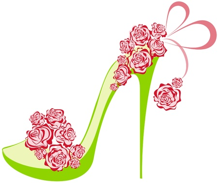 Illustration pour Roses high heel  Shoes on a high heel decorated with roses - image libre de droit