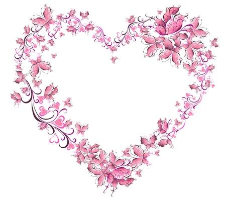 Photo pour Floral Love Shape  Heart of butterflies  Valentine Day card  - image libre de droit