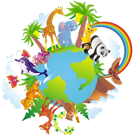Photo pour Cartoon animals walking around a globe - image libre de droit