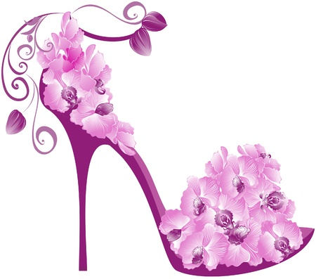 Vector illustration of orchids high heel. Shoes decorated with orchids