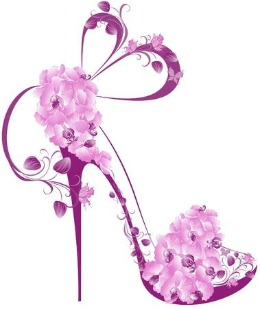 Illustration pour Shoes on a high heel decorated with orchids  - image libre de droit