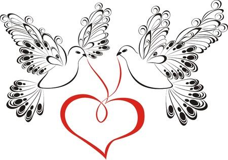 Illustration pour Two love dove with heart  - image libre de droit