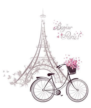 Illustration pour Bonjour Paris text with tower eiffel and bicycle. Romantic postcard from Paris. Vector illustration. - image libre de droit