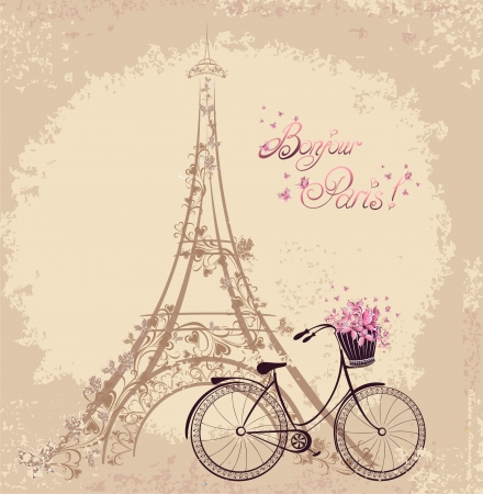 Photo pour Bonjour Paris text with tower eiffel and bicycle. Romantic postcard from Paris. Vector illustration. - image libre de droit