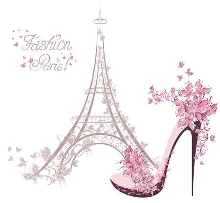 Illustration pour High-heeled shoes on the background of the Eiffel Tower  Paris Fashion - image libre de droit