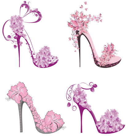 Illustration pour Collection shoes on a high heel decorated with flowers and butterflies  - image libre de droit